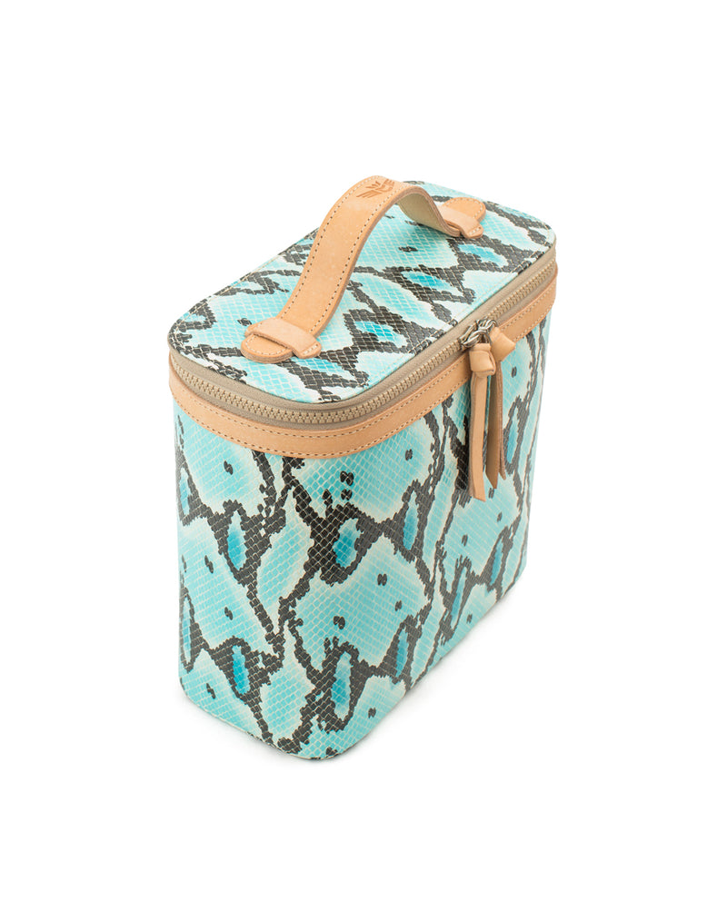 Carmen Slim Train Case in turquoise snake print by Consuela, side view