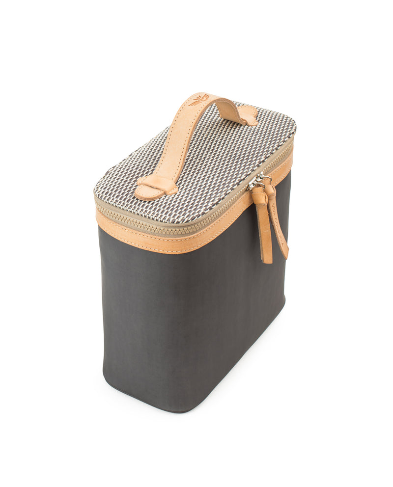 Smokey slim train case in grey by Consuela, side view