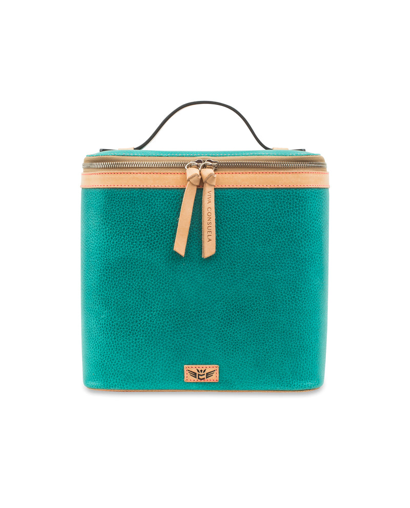 Guadalupe slim train case in turquoise leather by Consuela, front view