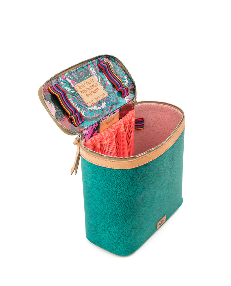 Guadalupe slim train case in turquoise leather by Consuela, interior view