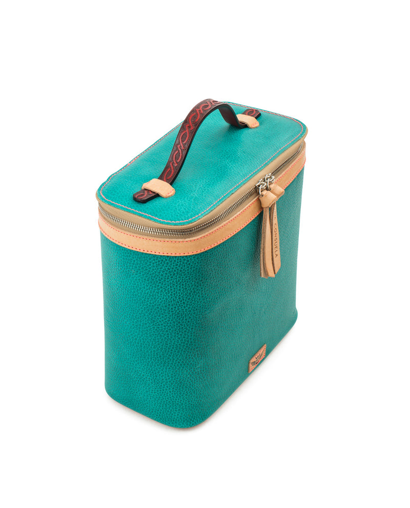Guadalupe slim train case in turquoise leather by Consuela, side view