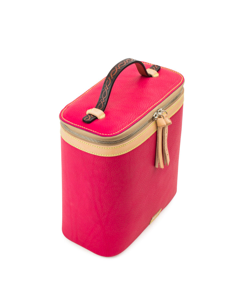 Rosa slim train case in pink leather by Consuela, side view