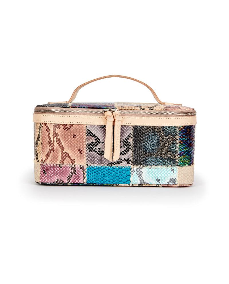 Sadie Train Case in patchwork snake print by Consuela, front view