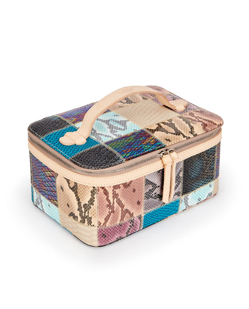 Sadie Train Case in patchwork snake print by Consuela, side view