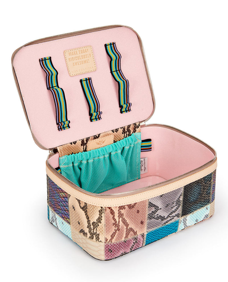Sadie Train Case in patchwork snake print by Consuela, open view