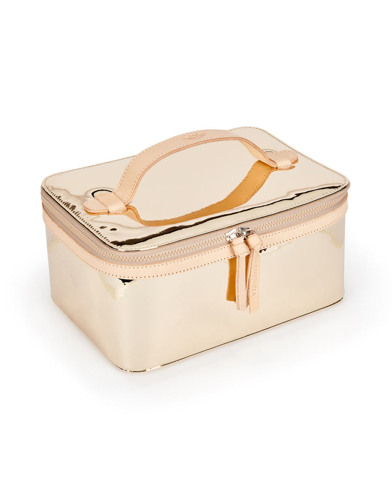Goldie Train Case in gold metallic by Consuela, side view