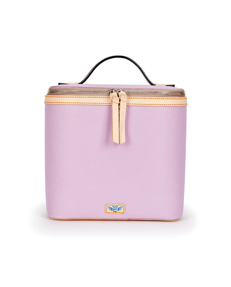 Lila Slim Train Case with lilac pebbled leather by Consuela, front view