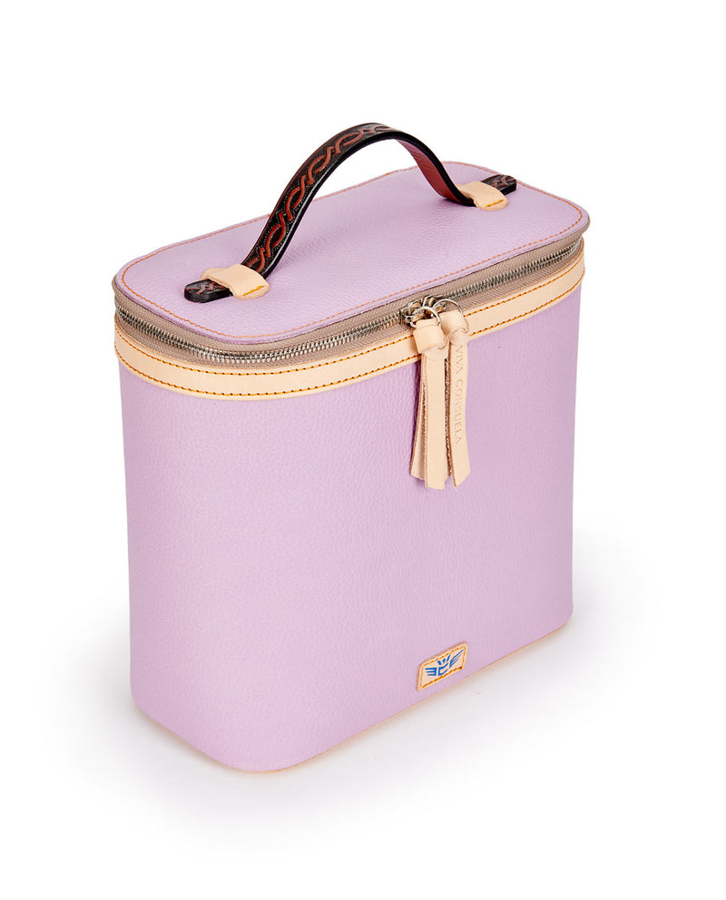 Lila Slim Train Case with lilac pebbled leather by Consuela, side view