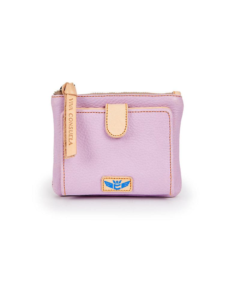 Lila Bifold Wallet in lilac pebbled leather by Consuela, front view