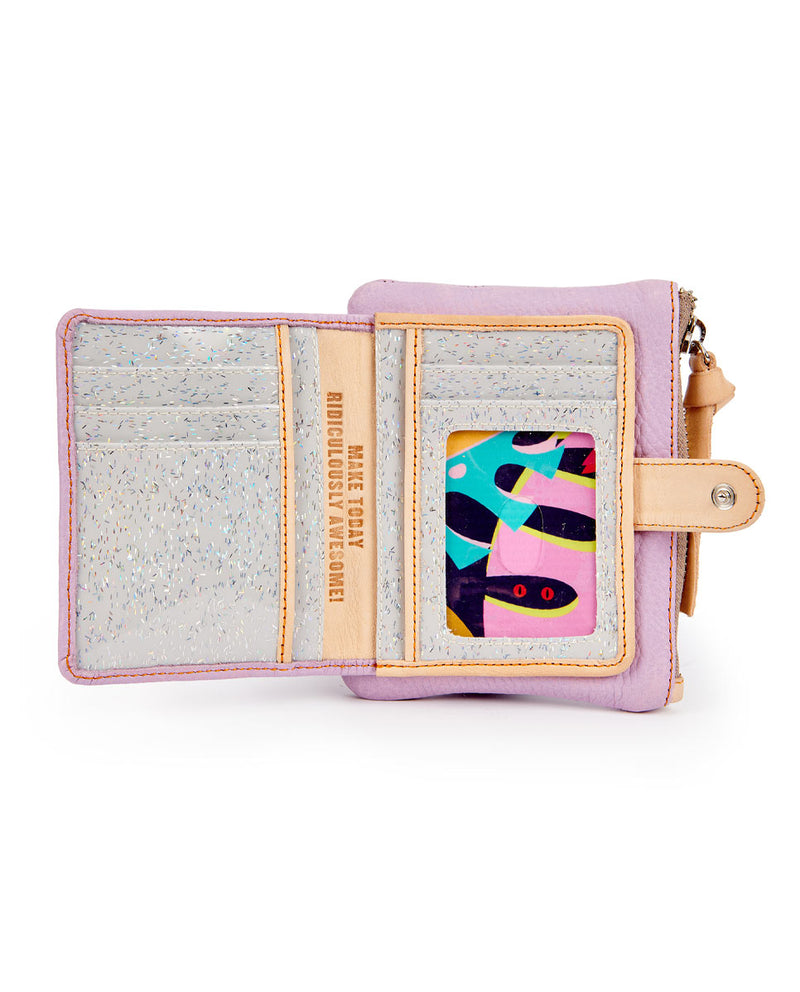 Lila Bifold Wallet in lilac pebbled leather by Consuela, open view