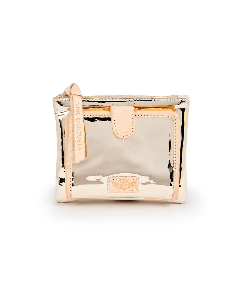 Goldie Bifold Wallet in gold metallic by Consuela, front view