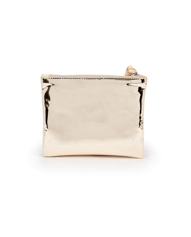 Goldie Bifold Wallet in gold metallic by Consuela, back view