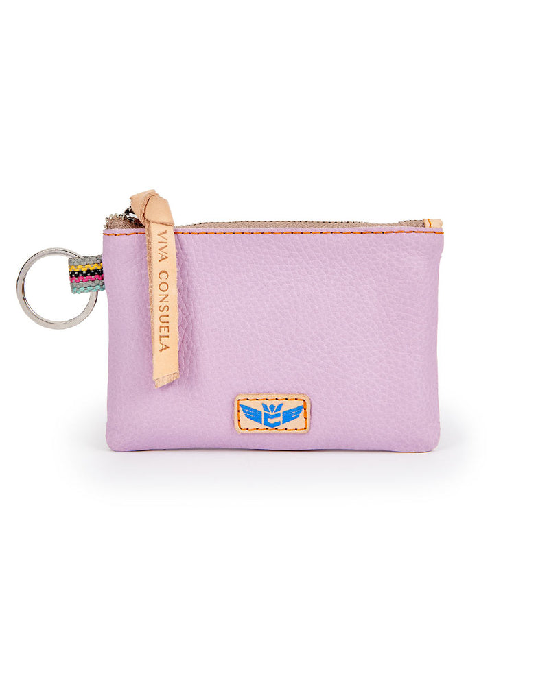 Lila Pouch in lilac pebbled leather by Consuela, front view