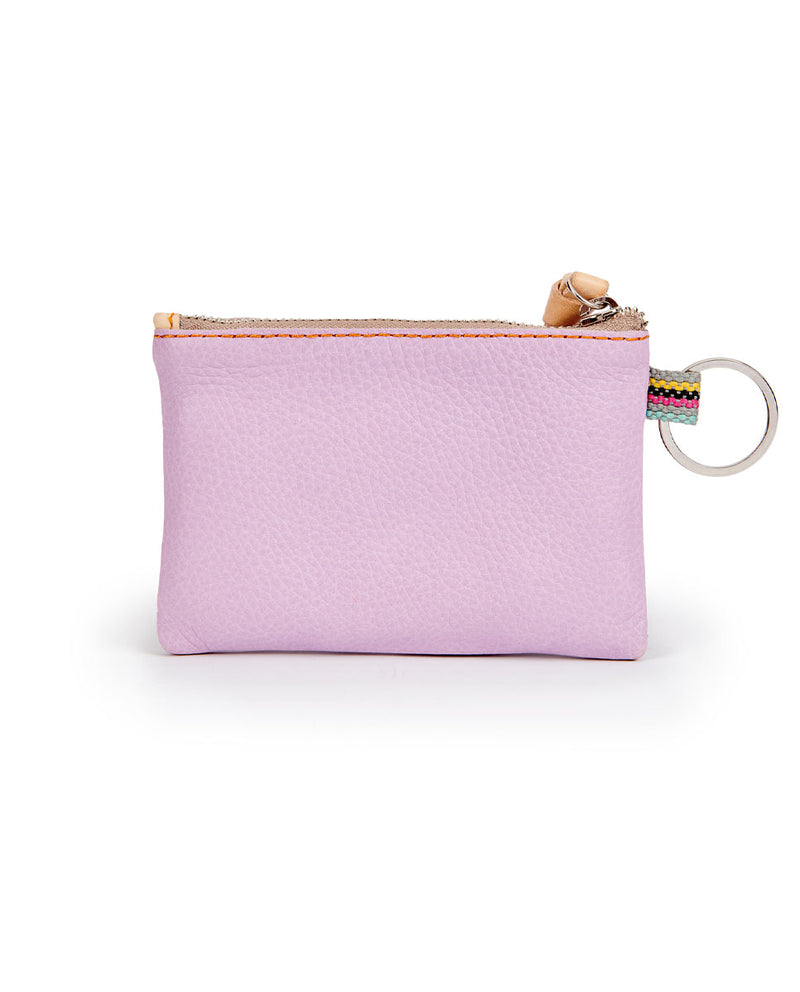 Lila Pouch in lilac pebbled leather by Consuela, back view