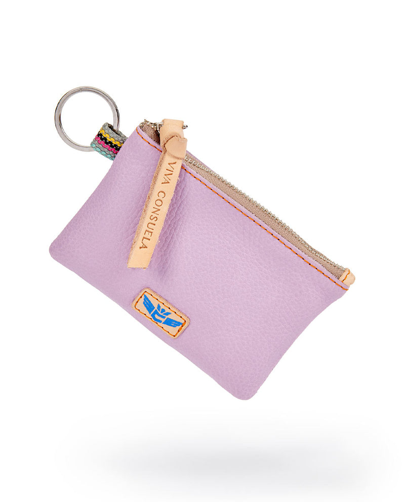 Lila Pouch in lilac pebbled leather by Consuela, front view 2