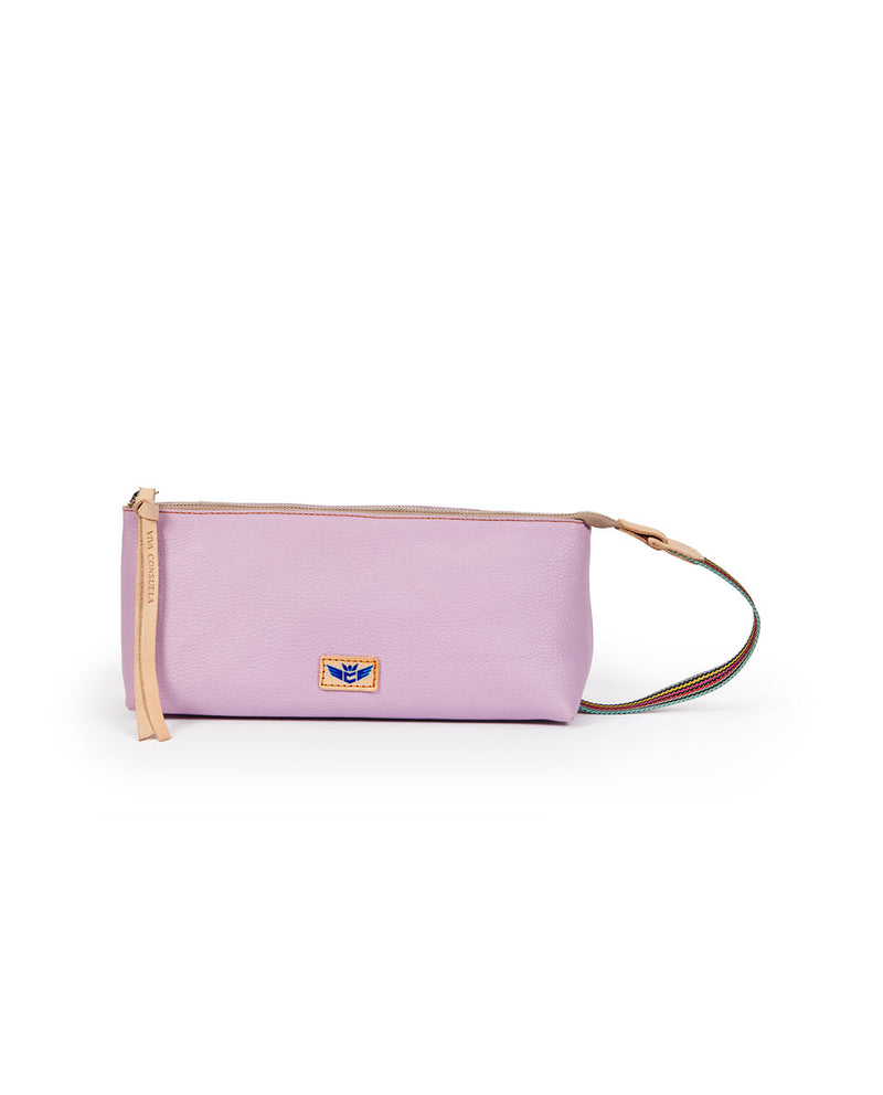 Lila Tool Bag in lilac pebbled leather by Consuela, front view