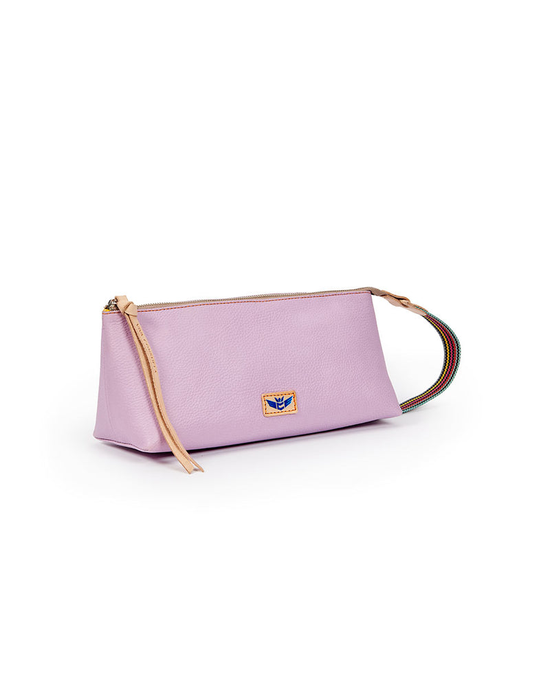 Lila Tool Bag in lilac pebbled leather by Consuela, side view