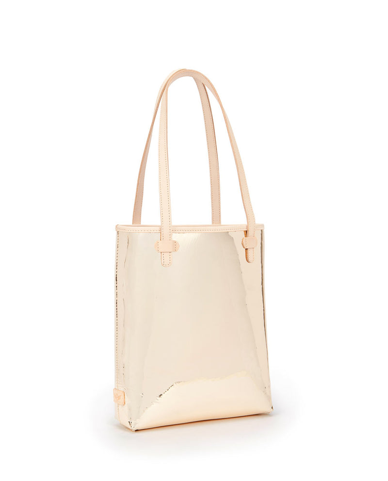 Goldie Everyday Tote in gold metallic by Consuela, side view