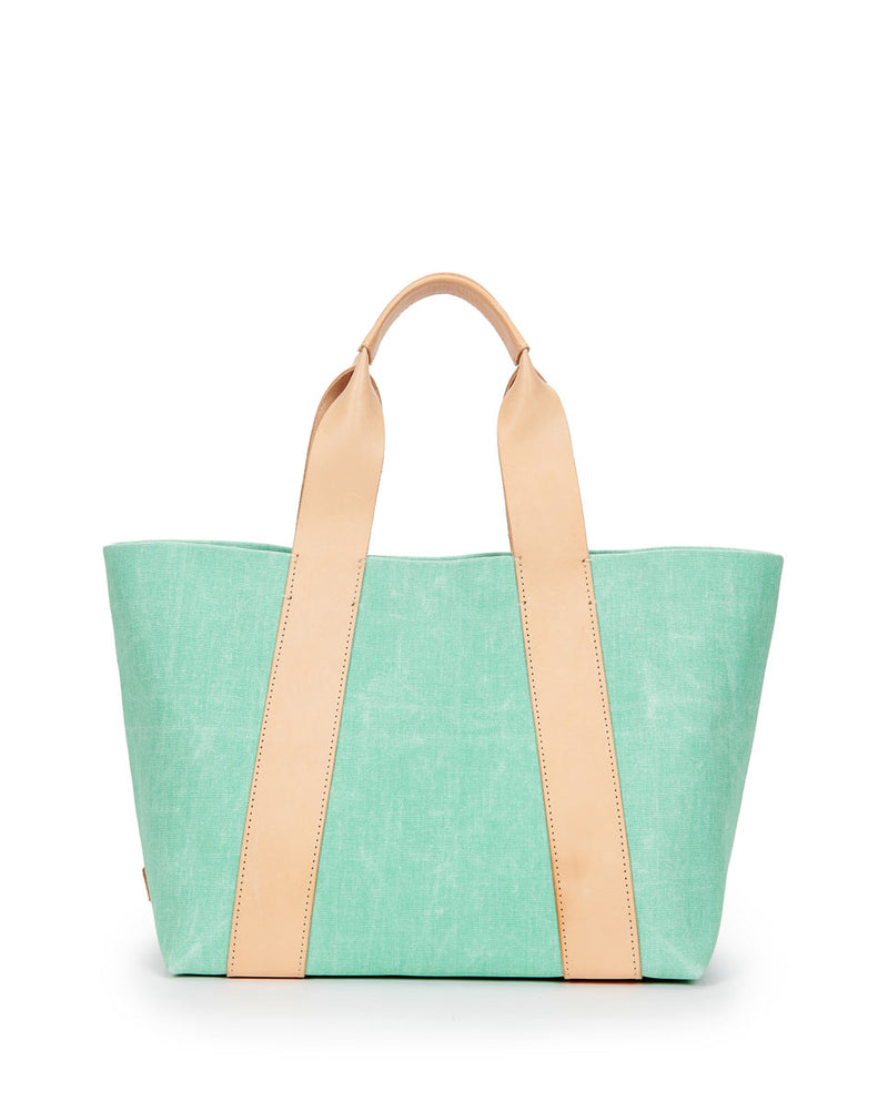 Agnes Carryall in green waxed canvas by Consuela, front view
