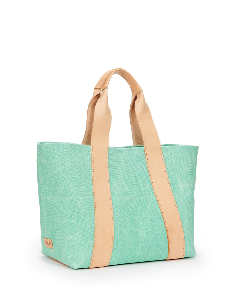 Agnes Carryall in green waxed canvas by Consuela, side view