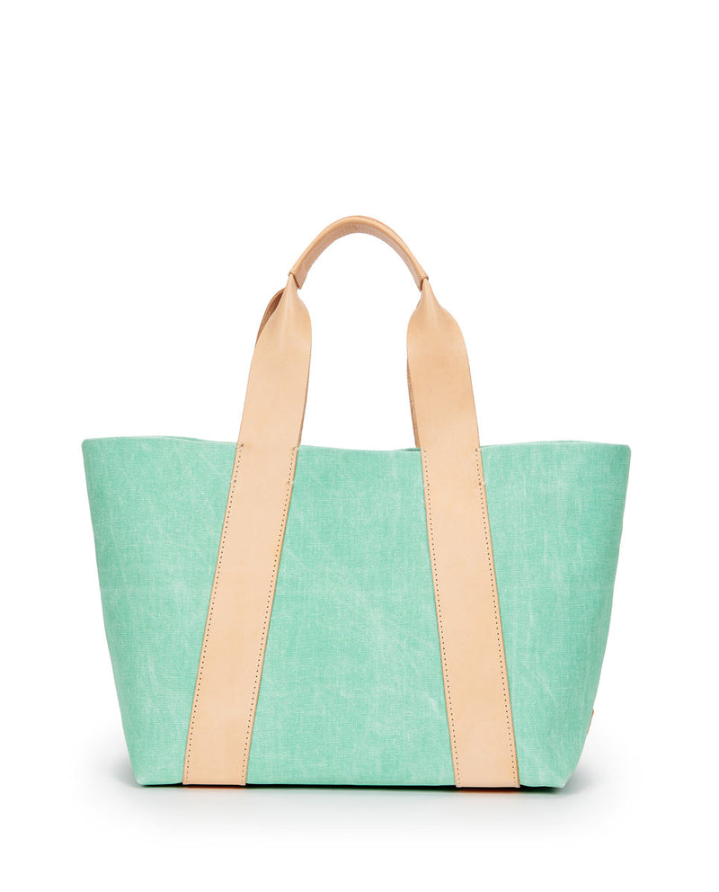 Agnes Carryall in green waxed canvas by Consuela, back view