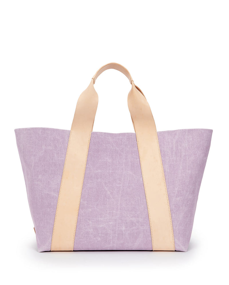 Moira large carryall in Lilac waxed canvas exterior by Consuela, front view