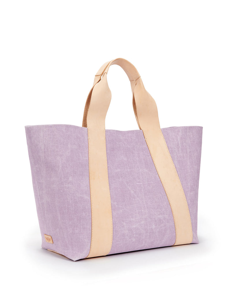 Moira large carryall in Lilac waxed canvas exterior by Consuela, side view