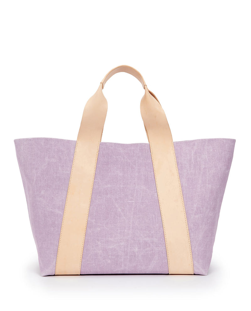 Moira large carryall in Lilac waxed canvas exterior by Consuela, back view