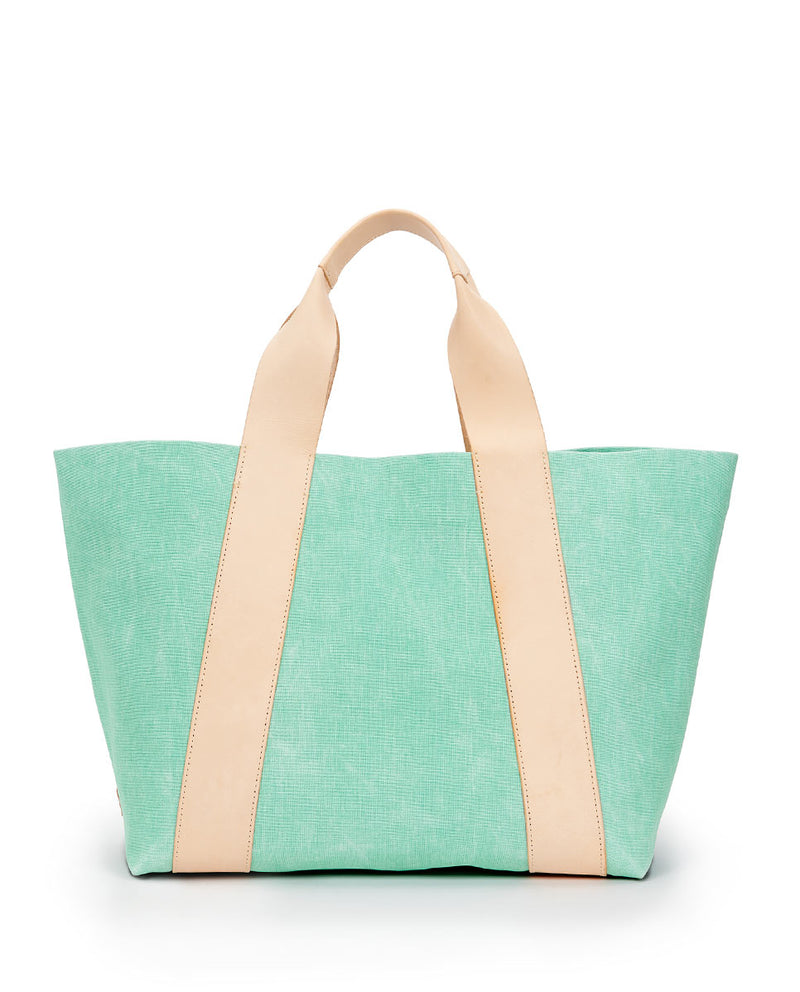 Agnes Large Carryall in light green waxed canvas exterior by Consuela, front view