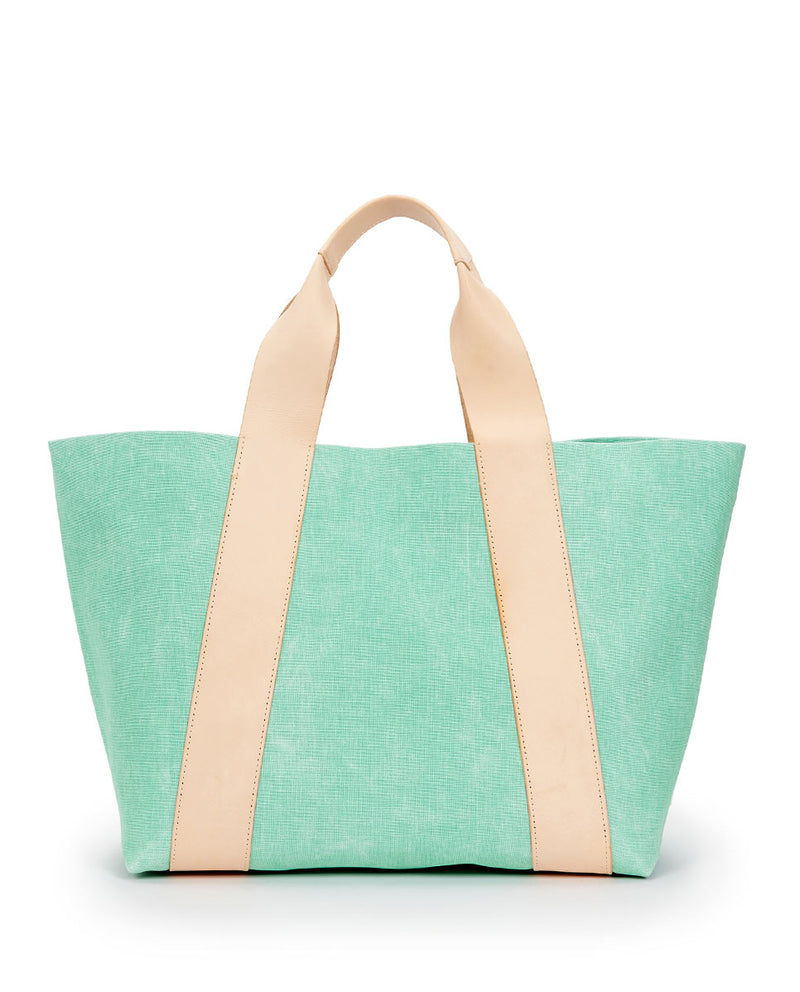 Agnes Large Carryall in light green waxed canvas exterior by Consuela, back view