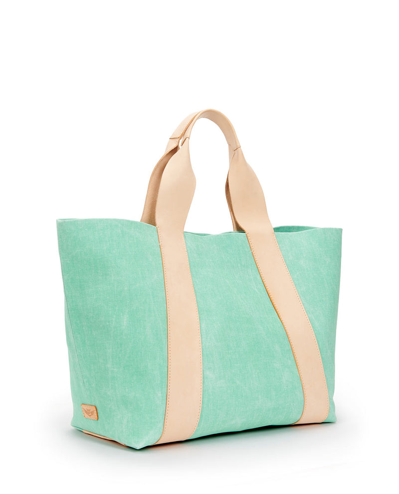 Agnes Large Carryall in light green waxed canvas exterior by Consuela, side view