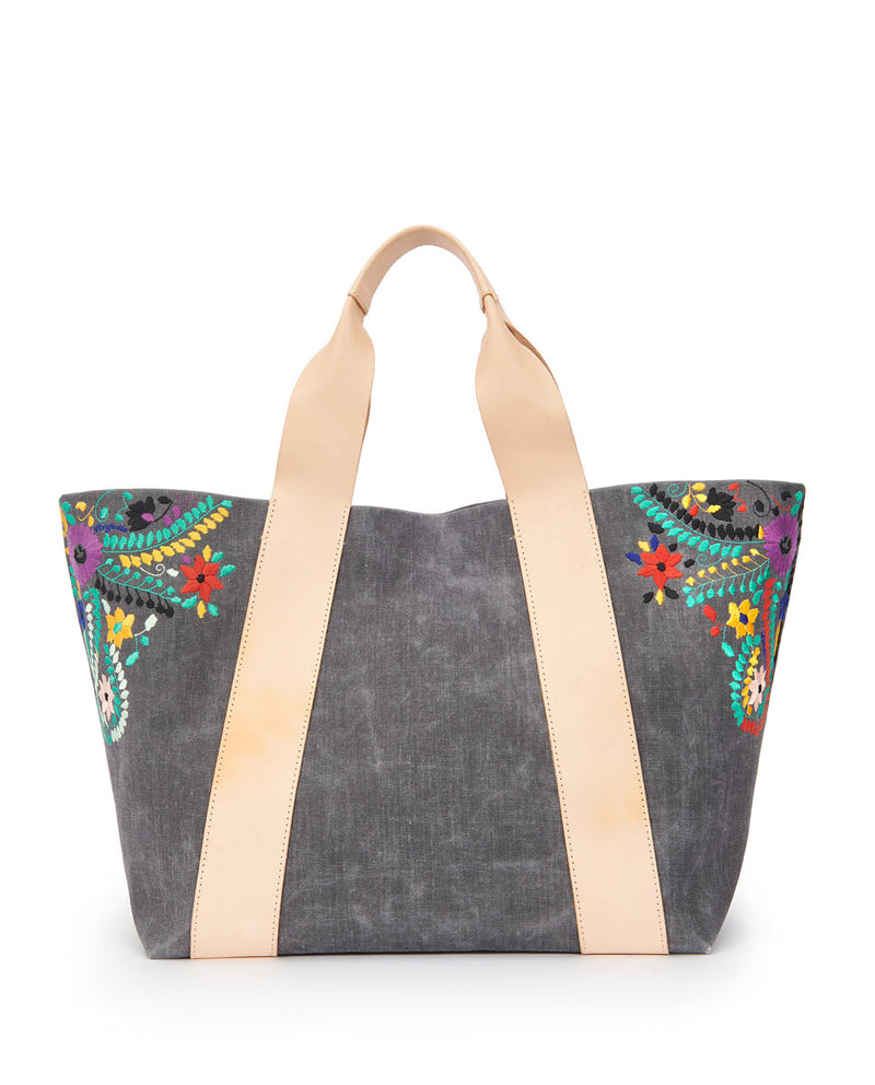 Alexis Large Carryall in grey waxed canvas exterior with colorful floral embroidered accents by Consuela, front view
