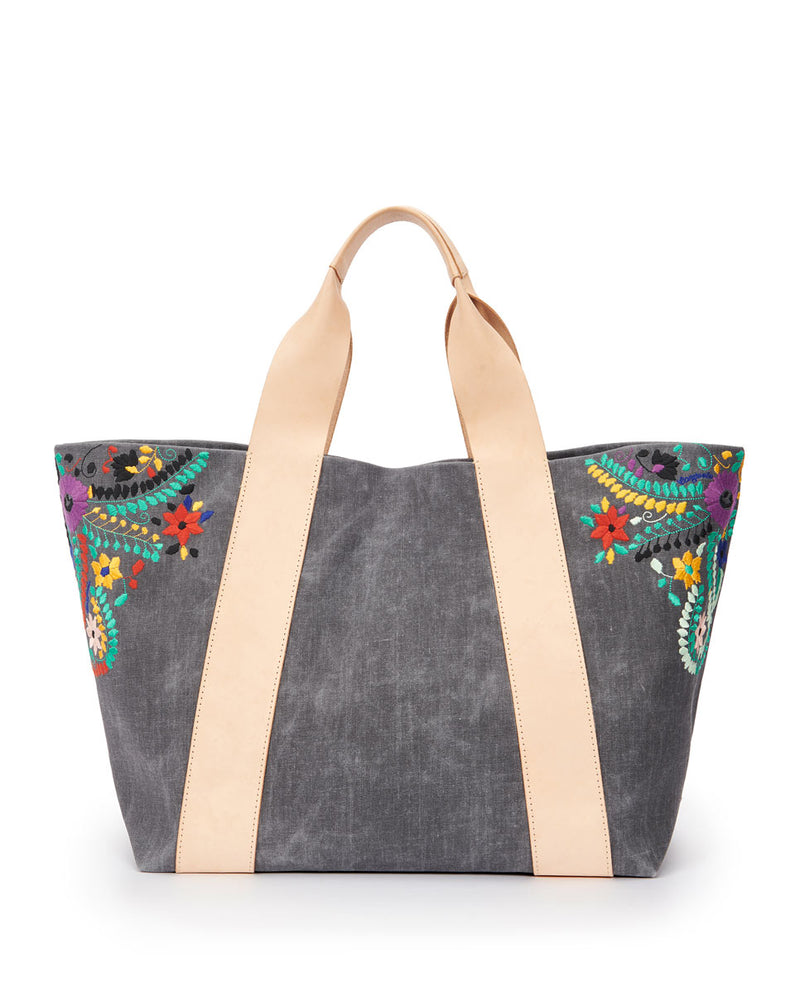 Alexis Large Carryall in grey waxed canvas exterior with colorful floral embroidered accents by Consuela, back view