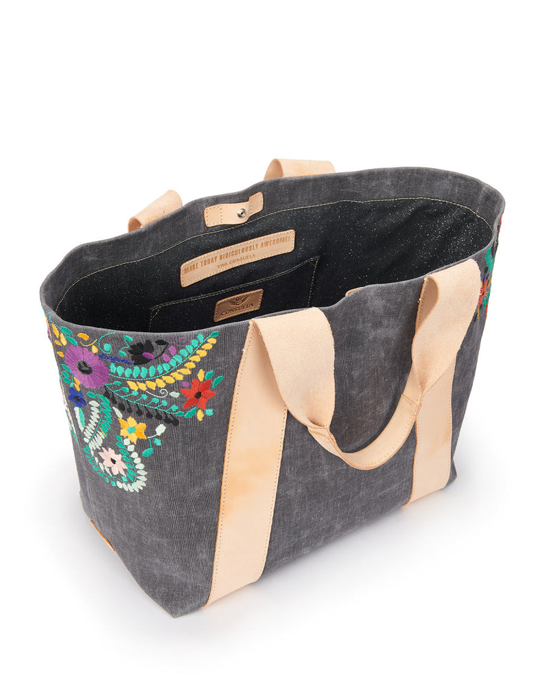 Alexis Large Carryall in grey waxed canvas exterior with colorful floral embroidered accents by Consuela, interior view