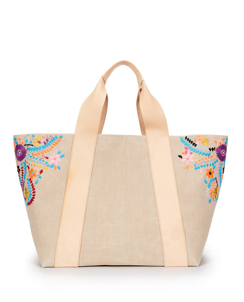 Jocelyn large Carryall Beige waxed canvas exterior with colorful floral embroidered accents by Consuela, front view