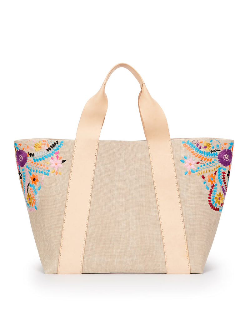 Jocelyn large Carryall Beige waxed canvas exterior with colorful floral embroidered accents by Consuela, back view