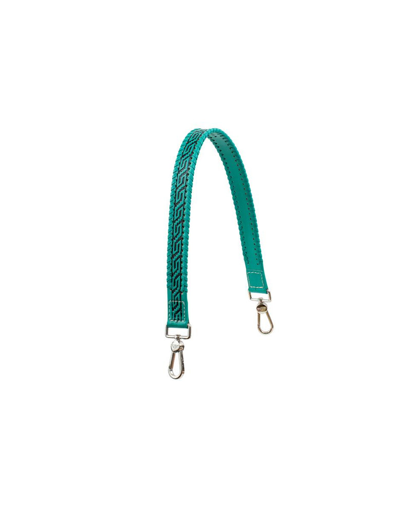 Turquoise Shoulder Strap in turquoise tooled leather by Consuela