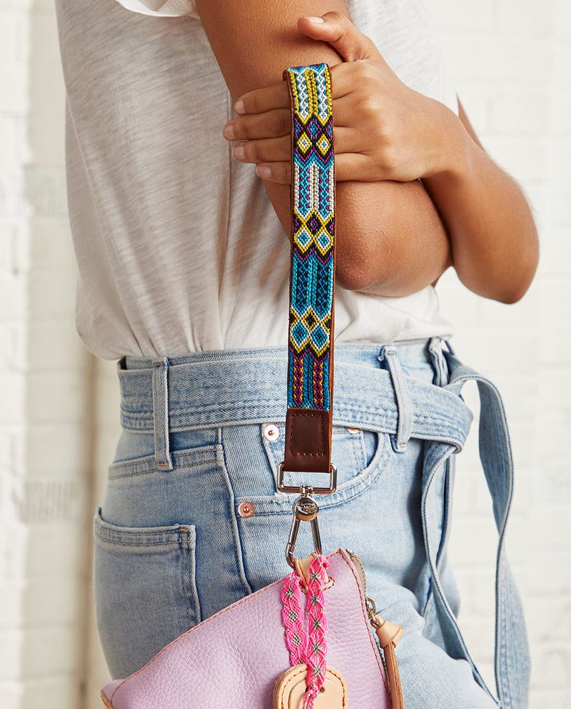 Blueberry Leather Wristlet Strap