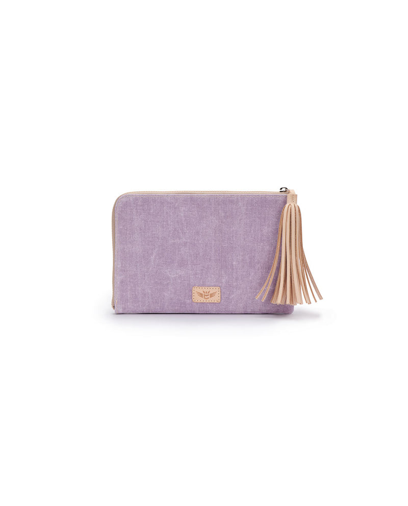 Moira L-Shaped Clutch in lilac and charcoal waxed canvas by Consuela, front view