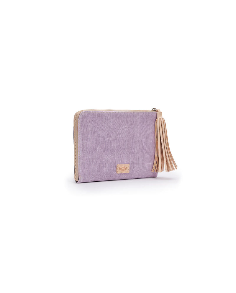 Moira L-Shaped Clutch in lilac and charcoal waxed canvas by Consuela, side view