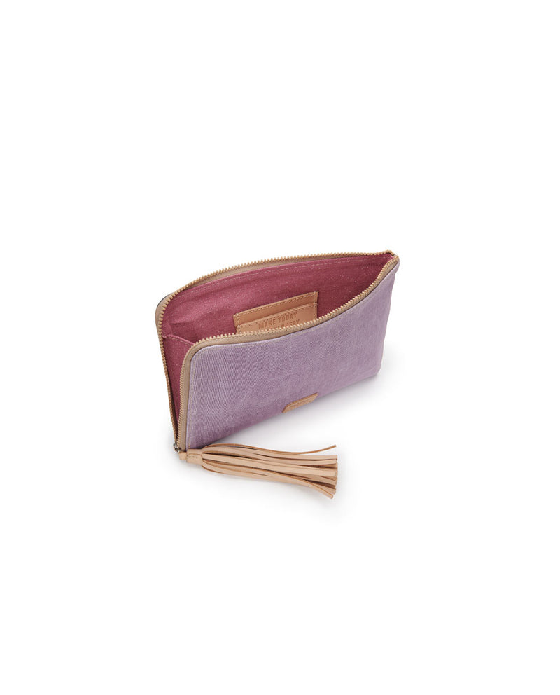 Moira L-Shaped Clutch in lilac and charcoal waxed canvas by Consuela, interior view
