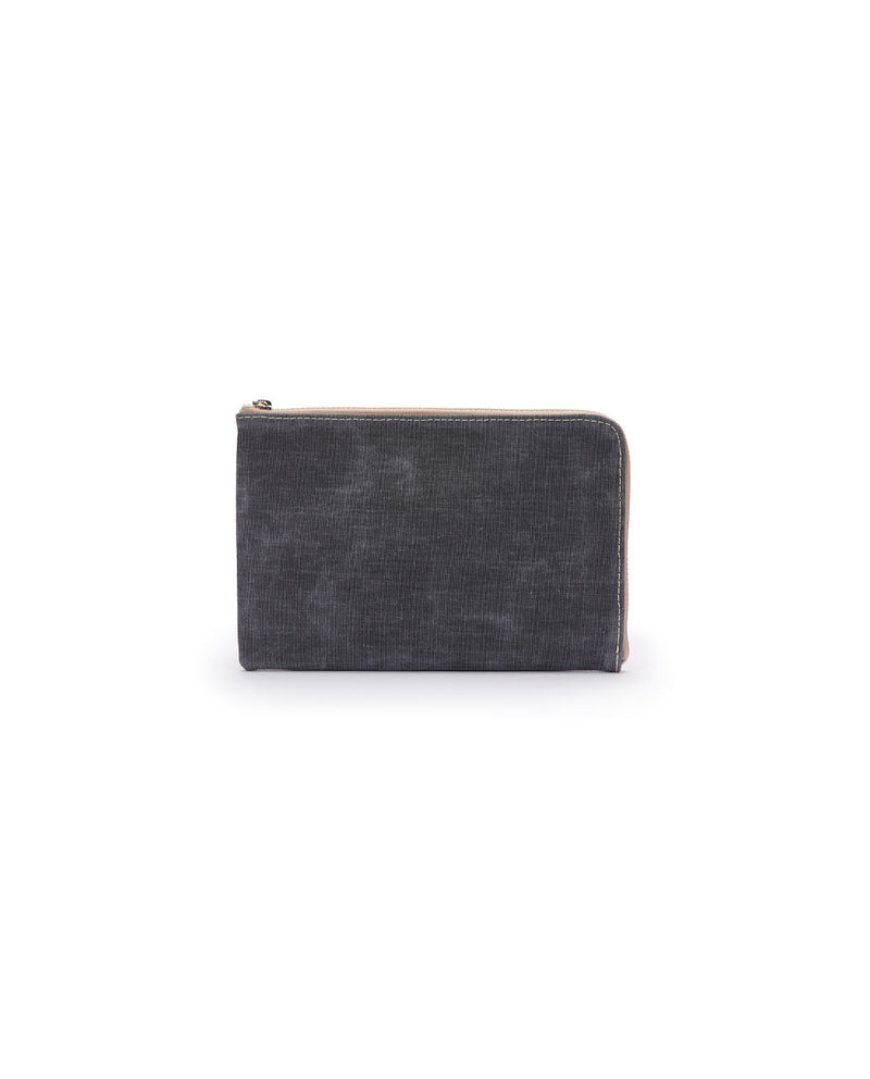 Moira L-Shaped Clutch in lilac and charcoal waxed canvas by Consuela, back view