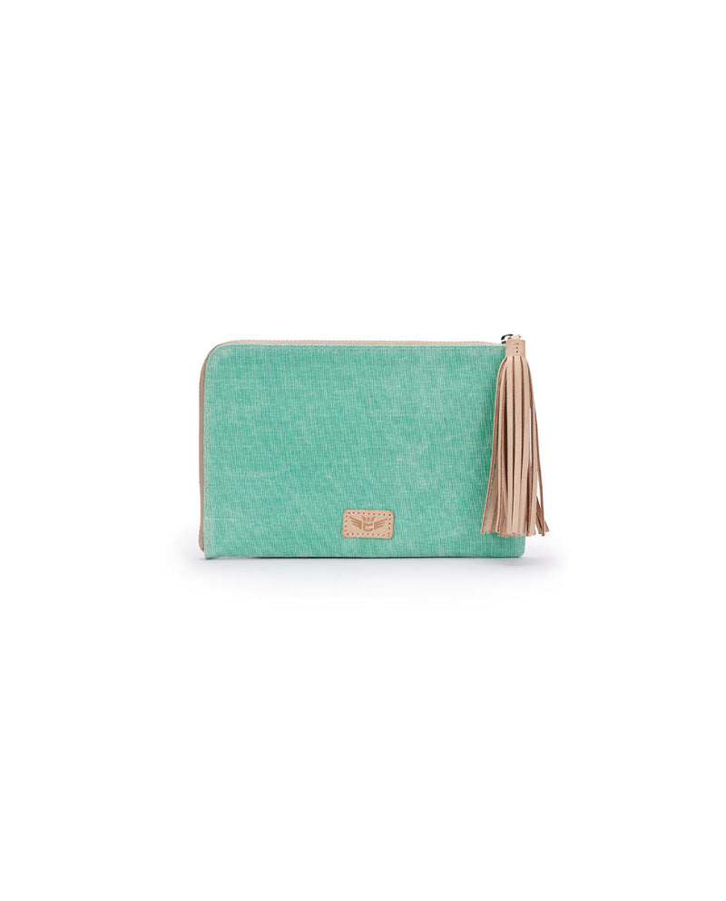 Agnes L-Shaped Clutch in mint and beige waxed canvas by Consuela, front view