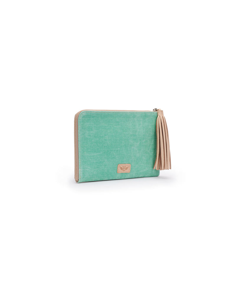 Agnes L-Shaped Clutch in mint and beige waxed canvas by Consuela, side view
