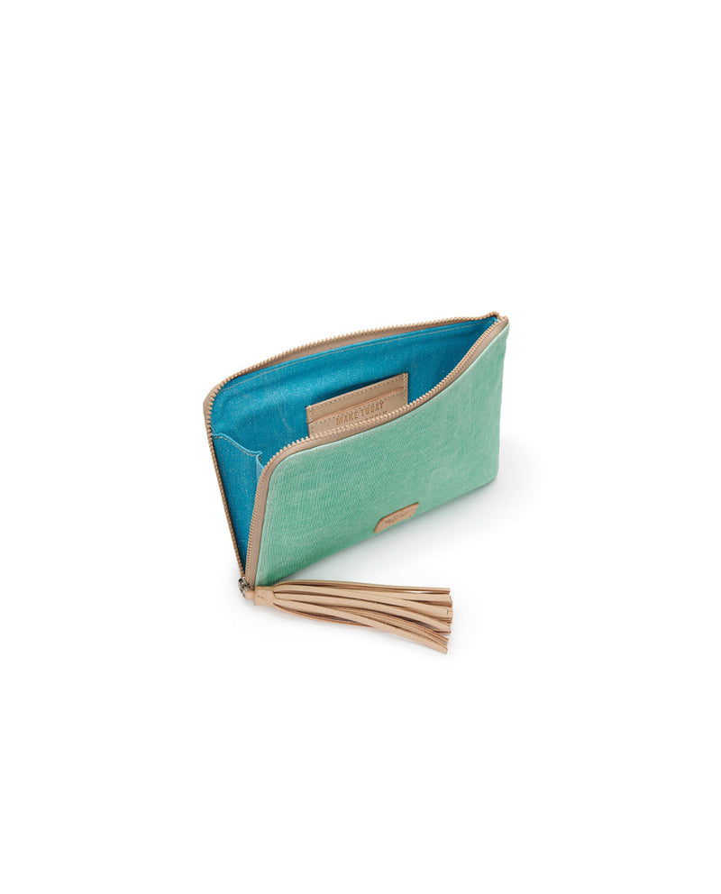 Agnes L-Shaped Clutch in mint and beige waxed canvas by Consuela, interior view