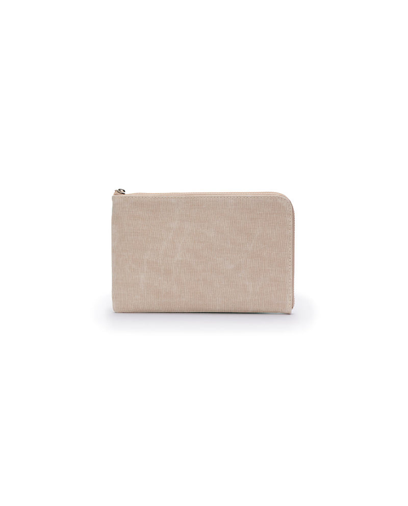 Agnes L-Shaped Clutch in mint and beige waxed canvas by Consuela, back view