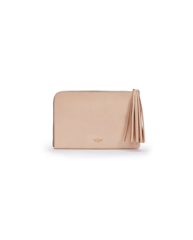 Diego L-Shaped Clutch in natural untreated leather by Consuela, front view