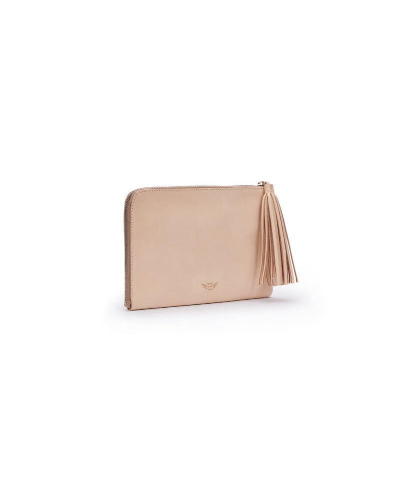 Diego L-Shaped Clutch in natural untreated leather by Consuela, side view