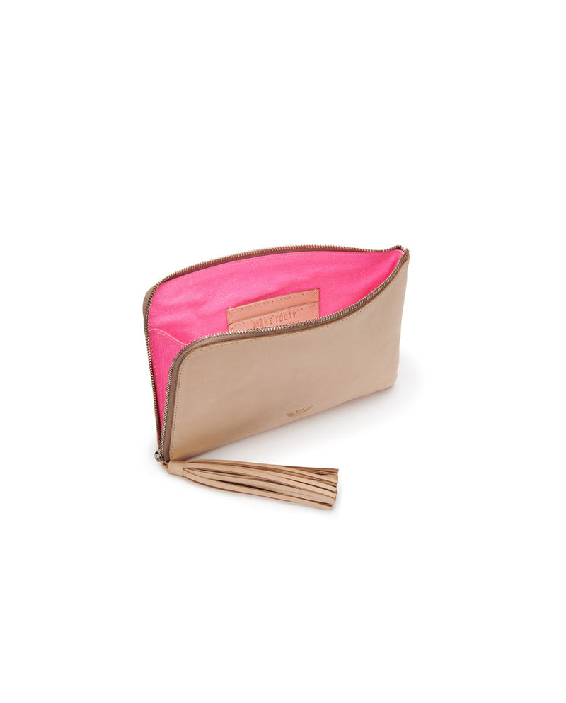 Diego L-Shaped Clutch in natural untreated leather by Consuela, interior view