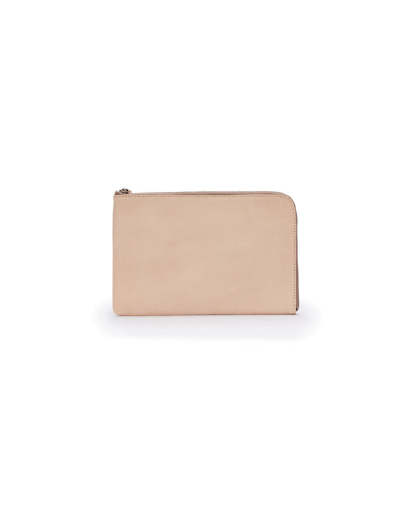 Diego L-Shaped Clutch in natural untreated leather by Consuela, back view
